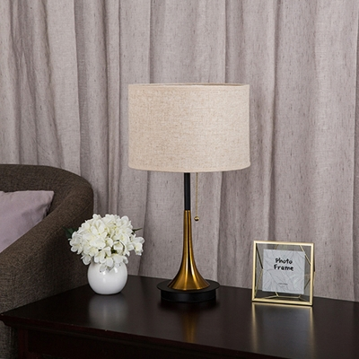 Fabric Cylindrical Table Lamp Modernism 1 Bulb Desk Light in Grey/Black with Pull Chain