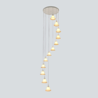 Floral Cluster Pendant Light Contemporary White Glass 12 Lights Stair LED Hanging Lamp Kit