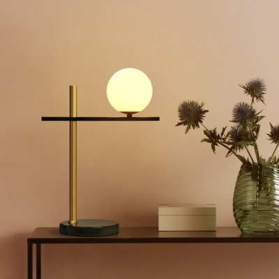 Minimalist Spherical Table Lamp White Glass 1 Head Reading Book Light in Black and Gold