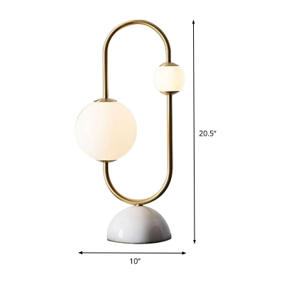 Modern Ball Task Light White Glass 2 Heads Desk Lamp in Gold with Dome Marble Base