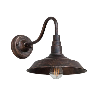 Rust Gooseneck Arm Sconce Lamp Farmhouse Iron 1 Light Bedside Wall Mount with Barn Shade