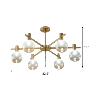 Spherical Living Room LED Pendant Clear Glass 6 Lights Minimalist Radial Chandelier Lamp Fixture in Brass