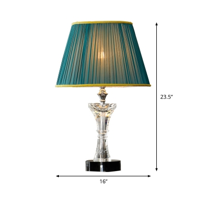 1 Head Living Room Desk Lamp Modernist Green Table Light with Conical Fabric Shade
