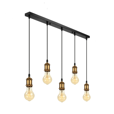 5 Light LED Mulit Light Pendant  in Antique Brass for Kitchen Pool Table Bar Counter Hanging Linear