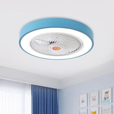 Acrylic Circle Flush Mount Lighting Kids Living Room 19.5