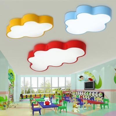 Cartoon Modern Cloud Flush Light Red Acrylic LED Ceiling Light for Nursing Room Corridor 23.5