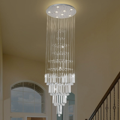 Clear Crystal Circle Cluster Pendant Modern 8 Lights LED Drop Lamp in White for Hall