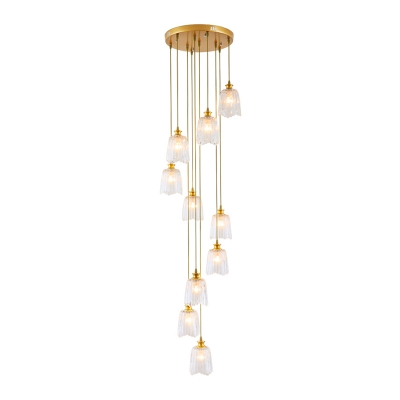 Contemporary 10 Heads Cluster Pendant Gold Barrel Hanging Ceiling Light with Clear Prismatic Glass Shade