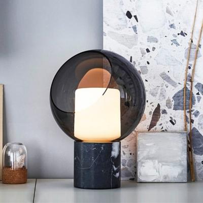 Contemporary Spherical Task Lighting Smoke Gray Glass 1 Bulb Living Room Small Desk Lamp