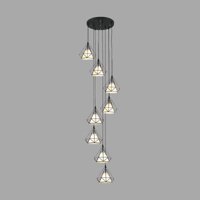 Diamond Stair Ceiling Lamp Metal 8 Bulbs Contemporary Multi Pendant Light Fixture in Black