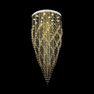 Faceted Crystal Ball Cluster Pendant Minimalism 15 Lights Silver LED Hanging Light Kit for Living Room