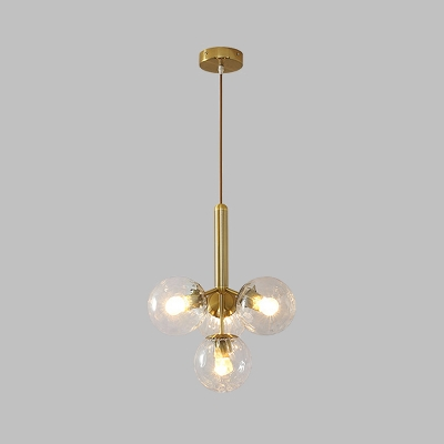 Gold Sputnik Hanging Chandelier Modern 4 Lights Clear Water Glass Pendant Ceiling Lamp