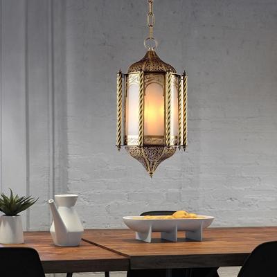 Metal Brass Chandelier Lighting Fixture Lantern 3 Bulbs Vintage Hanging Pendant for Bedroom