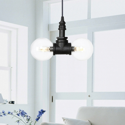 Vintage Piping Hanging Light 2/3/4 Bulbs Metal LED Chandelier Lamp in Black with Ball Clear Glass Shade