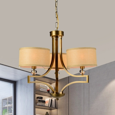 Vintage Style Drum Pendant Light Metal and Fabric 3 Lights Brass Hanging Lamp for Bedroom Dinging Room