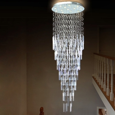13 Bulbs Stair Cluster Pendant Simple Silver LED Hanging Light Fixture with Cascade Beveled K9 Crystal Shade