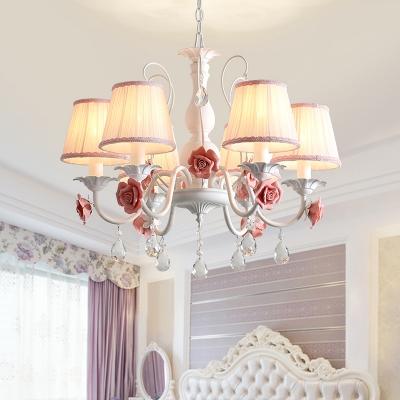 6 Bulbs Conical Chandelier Light Pastoral Pink/Blue Metal Flower Pendant Lighting with Dangling Crystal for Bedroom