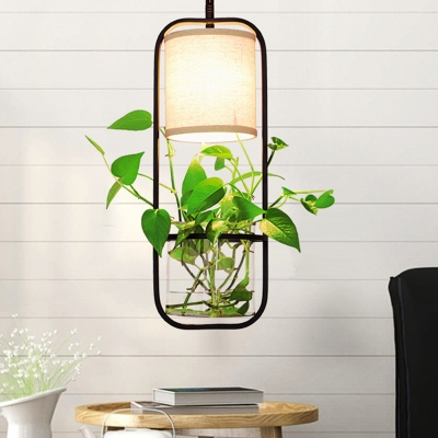 Capsule Metal Pendant Lamp Industrial 1 Head Dining Table Suspended Light Fixture in White/Black with Plant Deco