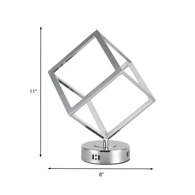 Chrome Cubic Frame Night Table Light Modernist LED Metallic Small Desk Lamp with Circle Base