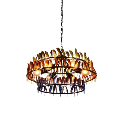 Drum Cage Living Room Ceiling Lamp Farmhouse Metal 6-Head Black Hanging Chandelier with Red and Blue Feather Deco