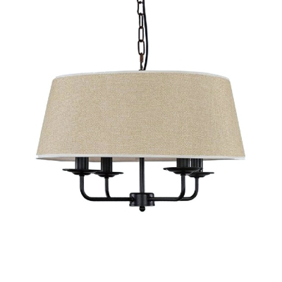 Drum Shade Suspension Light Metal and Fabric 4 Lights Rustic Style Chandelier in White/Flaxen/Green