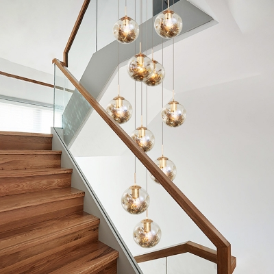 Globe Cluster Pendant Contemporary Amber Glass 10 Bulbs Stair Hanging Light Fixture