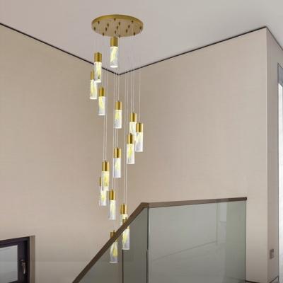 Gold Cylinder Drop Lamp Minimalism 15/20 Bulbs Acrylic LED Multi Light Pendant for Living Room