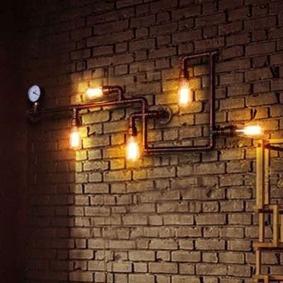 Industrial Maze Pipe Sconce Lighting 5-Head Iron Wall Mount Lamp in Copper with Gauge Deco