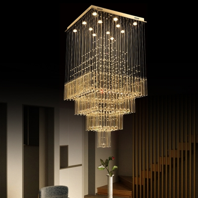 Layered Faceted Crystal Cluster Pendant Modern 13 Lights Silver LED Down Lighting for Dining Room