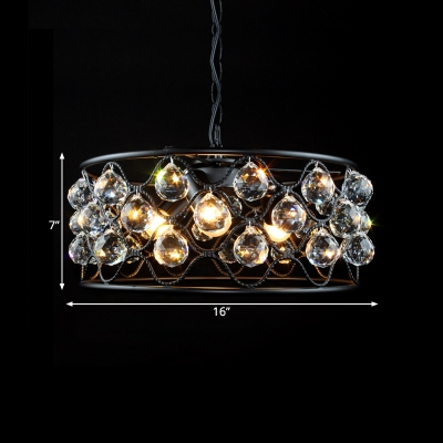 Living Room Round Ceiling Pendant Wrought Iron 3 Lights Retro Loft Black Chandelier with Crystal Ball