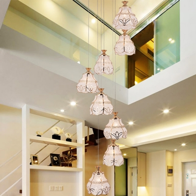 Modernism 8 Heads Cluster Pendant White Scalloped Suspension Lighting with Bubble Glass Shade