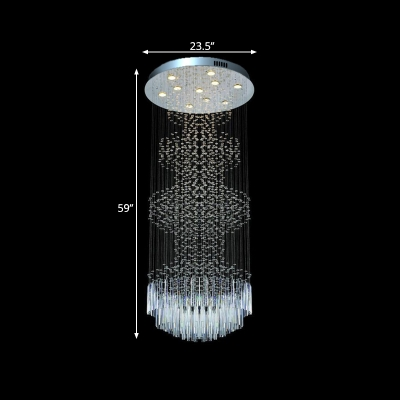 Silver Circular Cluster Pendant Light Minimalist 10 Heads Clear Crystal LED Ceiling Suspension Lamp