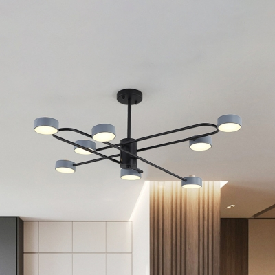 Simple Round LED Pendant Chandelier Iron 8 Lights Living Room Hanging Ceiling Lamp in Grey