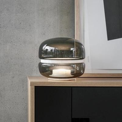 Smoke Grey Glass Urn Nightstand Lamp Contemporary 1 Bulb Task Lighting for Bedside