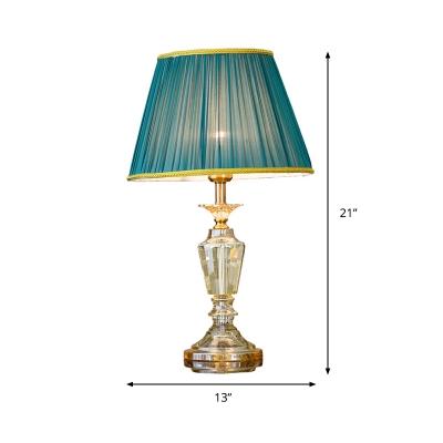 1 Bulb Urn Desk Lamp Modern Cut Crystal Task Lighting in Green with Fabric Shade