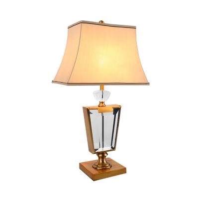 1 Head Bedside Table Light Modern Gold Small Desk Lamp with Wide Flare Fabric Shade