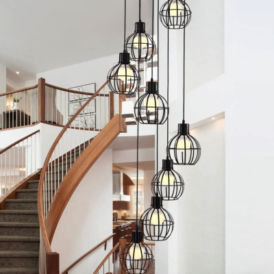 6 Lights Stair Multi Light Pendant Contemporary Black Suspended Lighting Fixture with Geometric Metal Shade