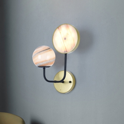 Ball and Round Bedside Wall Mount Light Planet Glass 2 Lights Modernist Wall Sconce Lamp in Gold