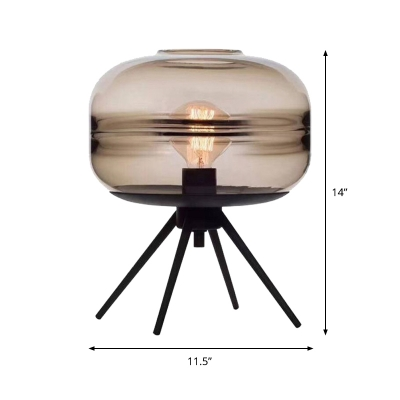 Contemporary Cylinder Task Lighting Cognac Glass 1 Bulb Living Room Small Desk Lamp