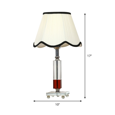 Contemporary Rectangular Desk Light Clear Crystal 1 Head Night Table Lamp in White