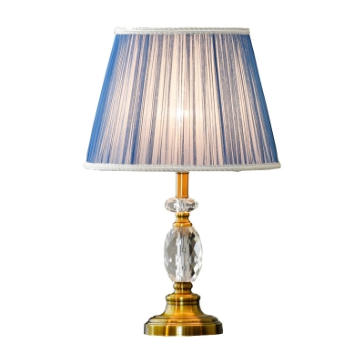Contemporary Shaded Reading Light Fabric 1 Head Nightstand Lamp in Blue for Bedroom