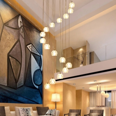 Dome Multi Light Pendant Modernism Clear Glass 16 Lights Living Room LED Ceiling Suspension Lamp in Silver