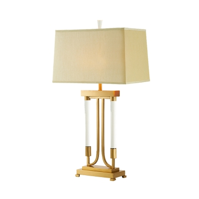 Fabric Trapezoid Desk Light Modernism 1 Head Nightstand Lamp in Gold with Metal Base