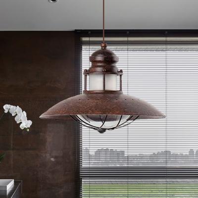 Flared Iron Pendant Light Fixture Antiqued 1 Head Restaurant LED Hanging Ceiling Lamp in Rust