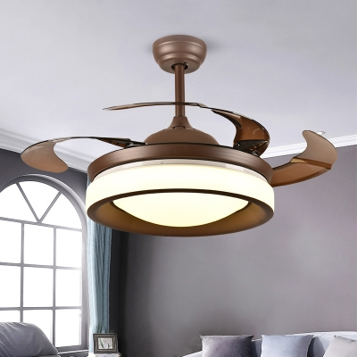 Metal Round 4-Blade Semi Flushmount Modern Living Room LED Hanging Fan Light in Coffee with Acrylic Shade, 42