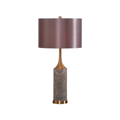 Straight Sided Shade Task Lighting Modernism Fabric 1 Bulb Small Desk Lamp in Grey