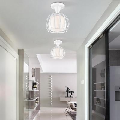 Vintage Globe Semi-Flush Ceiling Light with Metal Frame for Hallway Kitchen Foyer in White