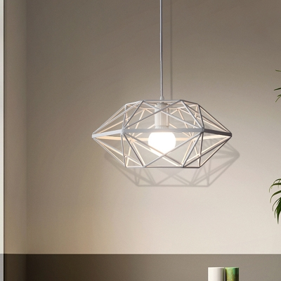 White Geometric Cage Pendant Lamp Contemporary 1-Head Metal Hanging Ceiling Light