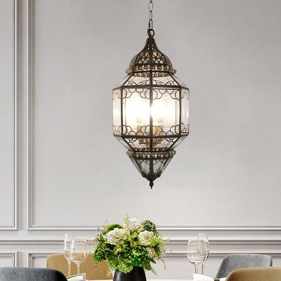 Arabian Lantern Chandelier Pendant Light 3 Heads Metal Suspension Lighting in Bronze