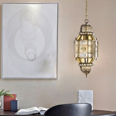 Brass 3 Heads Chandelier Lighting Traditional Metal Lantern Hanging Ceiling Light for Living Room